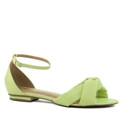 Sandália Rasteira Puff Couro Verde Neon
