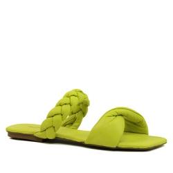 Sandália Rasteira Puffer Couro Amarelo Limão