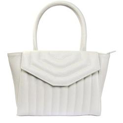 Bolsa Couro Matelassê Off White