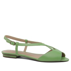 Sandália Flat Couro Verde