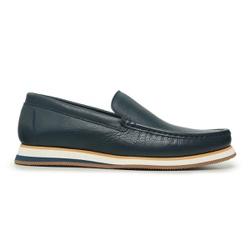 Sapato Casual Tokyo Masculino Couro Azul Escuro - ... - Loja Riccally