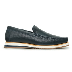 Sapato Casual Tokyo Masculino Couro Azul Dark - TK... - Loja Riccally
