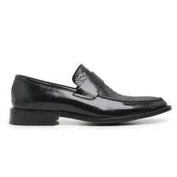 Sapato Social Masculino Loafer Couro Croco Preto R... - Loja Riccally