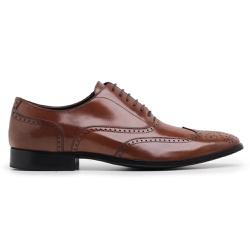 Sapato Social Brogue Masculino Couro Wisky Riccall... - Loja Riccally