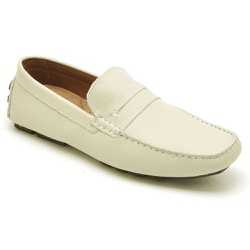 Mocassim Drive Masculino Couro Flother Off White R... - Loja Riccally