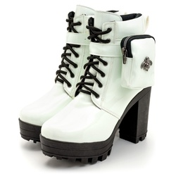 Coturno Salto Alto Pochete Branco Amanda Block - Rilu Fashion