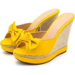 Tamanco Laço Anabela Amarelo Amanda Block - Rilu Fashion