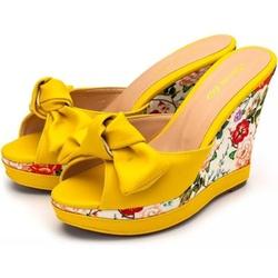 Tamanco Laço Anabela Estampada Amarelo Amanda Bloc... - Rilu Fashion