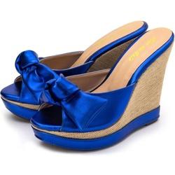 Tamanco Laço Anabela Azul Metalizado Amanda Block - Rilu Fashion