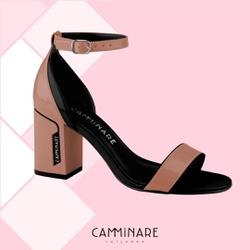Sandália Bloco Preto e Nude Camminare - Rilu Fashion