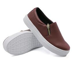 Slip On Calce Fácil Zíper Marsala DKShoes - Rilu Fashion