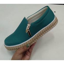 Slip On Calce Fácil Corda Zíper Verde Pino DKShoes... - Rilu Fashion