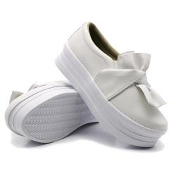 Slip On Laço Sola Alta Branco DKShoes - Rilu Fashion