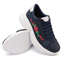 Tênis Casual Chuncky Flor Jeans Sola Tratorada DKS... - Rilu Fashion