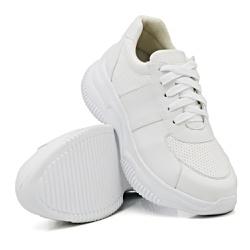 Tênis Casual Chuncky Perfurado Branco Sola Tratora... - Rilu Fashion