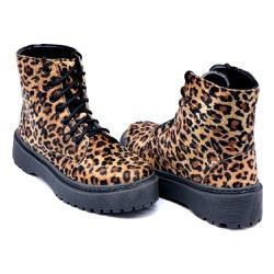 Coturno Cano Médio Sola Tratorada Onça DKShoes - Rilu Fashion