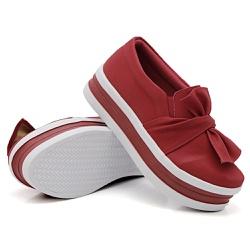 Slip On Laço Sola Alta Faixa Vermelho DKShoes - Rilu Fashion
