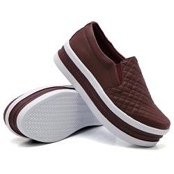 Slip On Matelassê Sola Alta Marsala DKShoes - Rilu Fashion
