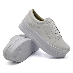Tênis Casual Listra Sola Alta Branco DKShoes - Rilu Fashion