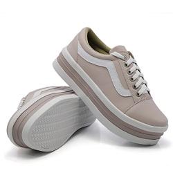 Tênis Casual Listra Sola Alta Rosê DKShoes - Rilu Fashion