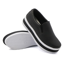 Slip On Liso Sola Alta Preto DKShoes - Rilu Fashion
