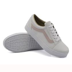 Tênis Casual Listra Branco com Rosê DKShoes - Rilu Fashion