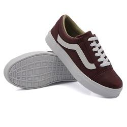 Tênis Casual Listra Marsala DKShoes - Rilu Fashion