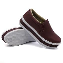 Slip On Liso Sola Alta Marsala DKShoes - Rilu Fashion