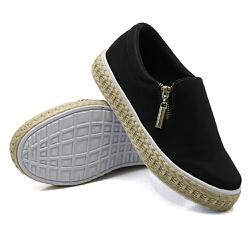 Slip On Calce Fácil Corda Zíper Preto DKShoes - Rilu Fashion