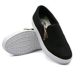 Slip On Calce Fácil Zíper Preto DKShoes - Rilu Fashion
