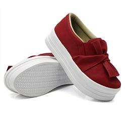 Slip On Laço Sola Alta Vermelho DKShoes - Rilu Fashion