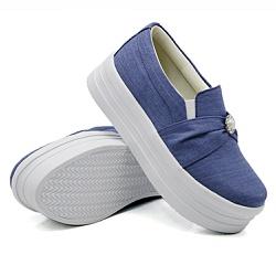 Slip On Pérola Sola Alta Jeans Claro DKShoes - Rilu Fashion