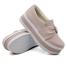 Slip On Pérola Sola Alta Rosê DKShoes - Rilu Fashion