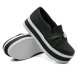 Slip On Pérola Sola Alta Preto DKShoes - Rilu Fashion