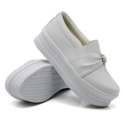 Slip On Pérola Sola Alta Branco DKShoes - Rilu Fashion