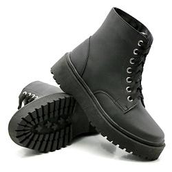 Coturno Cano Médio Sola Tratorada Preto DKShoes - Rilu Fashion
