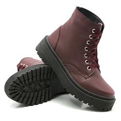 Coturno Cano Médio Sola Tratorada Marsala DKShoes - Rilu Fashion