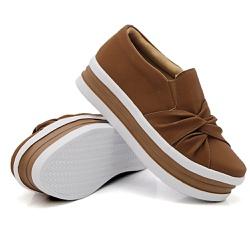 Slip On Nó Lateral Sola Alta Caramelo DKShoes - Rilu Fashion
