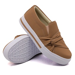 Slip On Nó Lateral Listra Chocolate DKShoes - Rilu Fashion