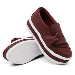 Slip On Nó Lateral Sola Alta Marsala DKShoes - Rilu Fashion
