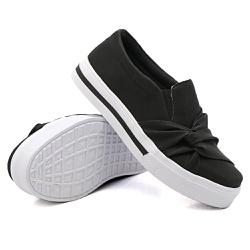 Slip On Nó Lateral Listra Preto DKShoes - Rilu Fashion