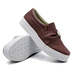 Slip On Pérola Marsala DKShoes - Rilu Fashion