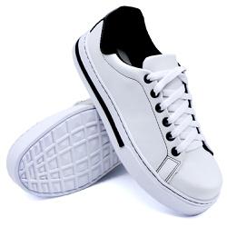 Tênis Casual Pietra Branco/Preto DKShoes - Rilu Fashion