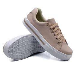 Tênis Casual Pietra Listra Rosê DKShoes - Rilu Fashion