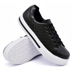 Tênis Casual Pietra Matelassê Preto DKShoes - Rilu Fashion
