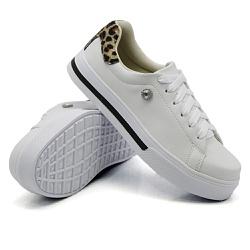 Tênis Casual Pietra Animal Print Branco DKShoes - Rilu Fashion