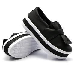 Slip On Laço Sola Alta Preto DKShoes - Rilu Fashion