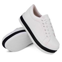 Tênis Casual Siena Branco Sola Alta Preto DKShoes - Rilu Fashion