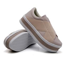 Slip On Siena Elástico Sola Alta Rosê DKShoes - Rilu Fashion