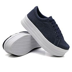 Tênis Casual Siena Sola Alta Jeans DKShoes - Rilu Fashion